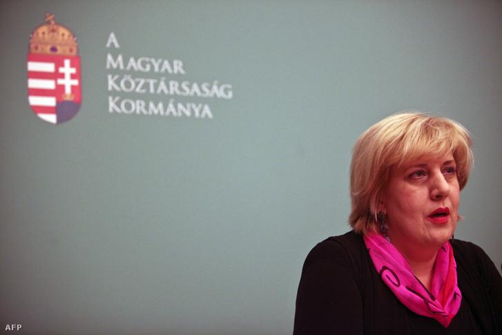 Dunja Mijatović budapesti sajtótájékoztatón 2011. január 18-án