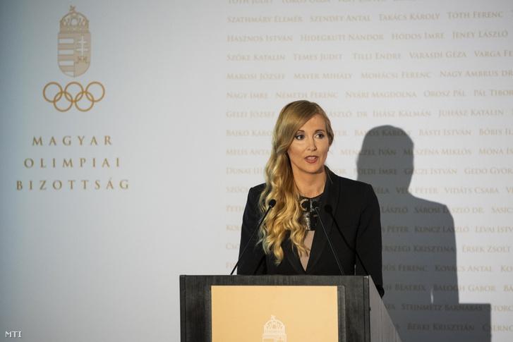Szabó Tünde sportért felelős államtitkár a Magyar Olimpiai Bizottság közgyűlésén a budapesti Larus rendezvényközpontban 2019. május 24-én.