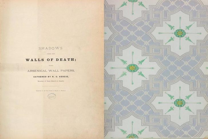 Az arzénos tapétamintákat egybegyűjtő könyv első oldalai
