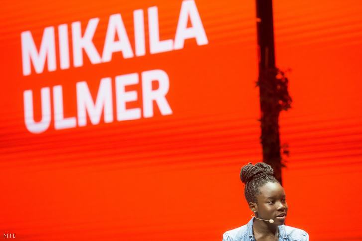 Az egyesült államokbeli Mikaila Ulmer, Amerika kedvenc limonádéjának 14 éves alapító tulajdonosa a Brain Bar jövőfesztiválon a Budapesti Corvinus Egyetemen 2019. május 30-án.