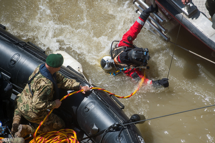 Búvár merül a Dunába a hajóbalesetben elsüllyedt Hableány turistahajó közelében a Margit hídnál 2019. május 31-én.