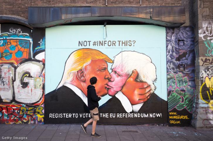 Trump és Johnson – Brexit-elllenes falfestmény Bristolban, 2016-ban