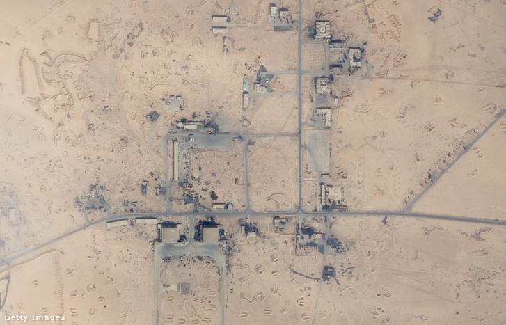 Műholdfelvétel a T4 nevű katonai légitámaszpontról Szíriában 2018. március 1-én