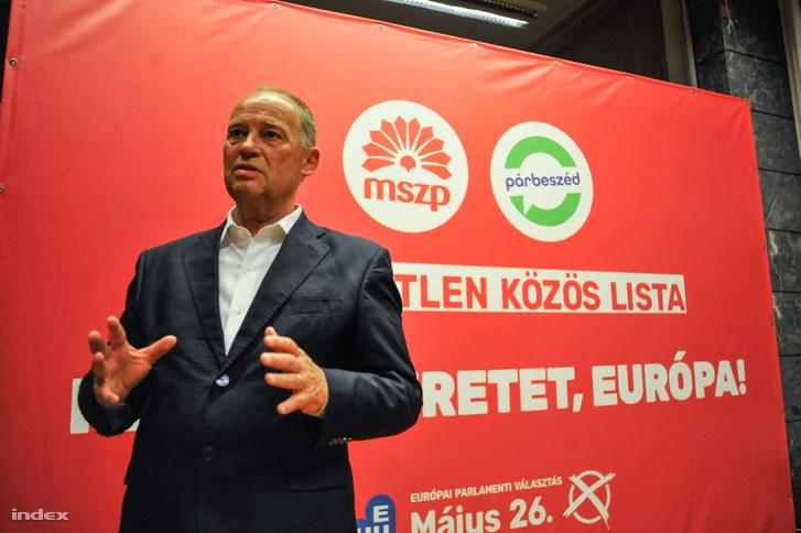 Szanyi Tibor szocialista EP-képviselő az MSZP és a Párbeszéd EP-választási eredményváróján Budapesten a Villányi úti konferenciaközpontban 2019. május 26-án.