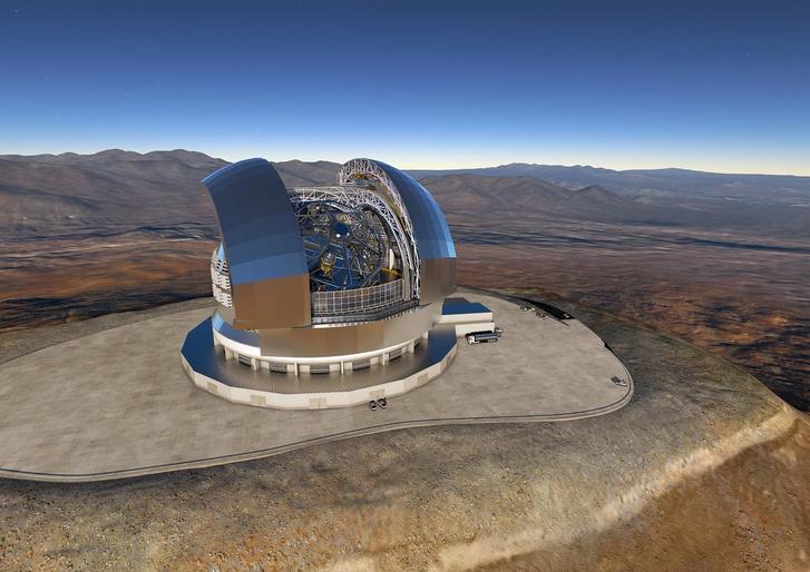 Az építés alatt lévő European Extremely Large Telescope (E-ELT) látványterve