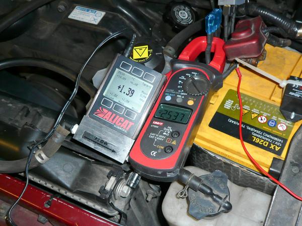 Alapjáraton csak 25 ampert tudott kiizzadni magából a Toyota generátora, de már ezzel is 1,4 liter gázt termeltünk percenként