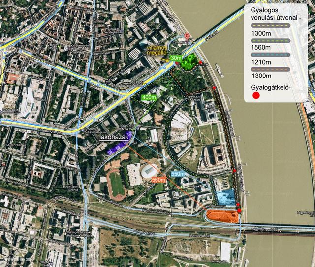 Zöld: a ZP régi helye a Petőfi hídnál Narancs: a ZP új helye a Rákóczi hídnál