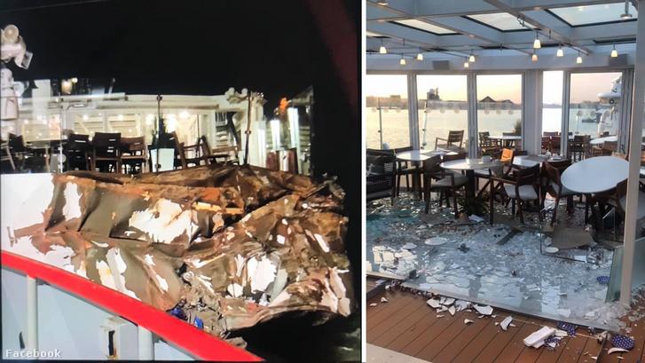 Képek az egyik utas 2019. április 1-én kitett posztjából, amikor a Viking Cruises egyik hajója ütközött egy olaj tankerrel Terneuzenben