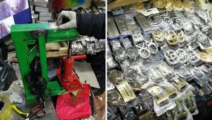 Présgéppel nyomták az Armani-logót a budapesti kínai piacon