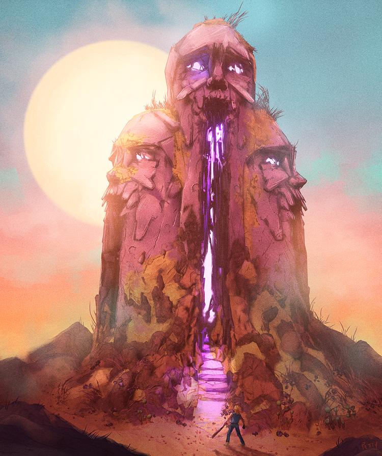 A kép címe: Mender Tower. Lee Petty Photoshoppal készült rajza a RAD-hoz, ami egy Diablo-szerű akció-szerepjáték, posztapokaliptikus környezettel és rajzfilmek felé húzó grafikával.