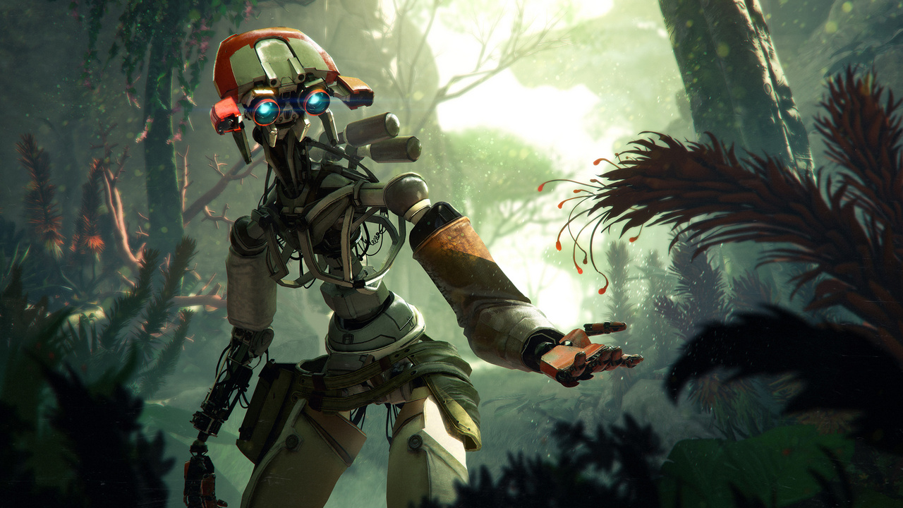Dave Guertin Photoshoppal készült koncepciórajza, amelynek címe: Stormland Reveal Robot. A Stormland egy csak PC-re megjelent VR-játék, amiben a játékos a képen látható robot bőrébe bújik.