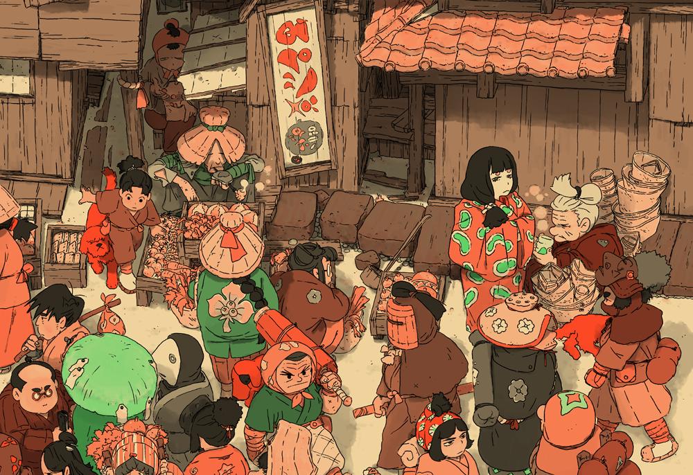 A Samurai Gunn 2 egy japán falifestményeket idéző, pixelgrafikás akció-kalandjáték, ehhez készített Valentin Seiche Photoshoppal és Bic Pennel egy képet, címe: People of Gunncity.