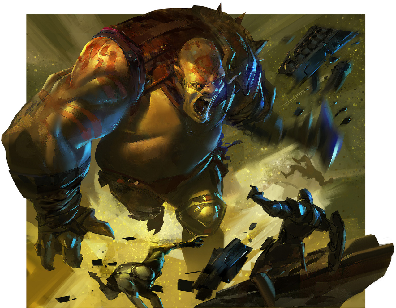 Ahmed Aldoori és kollégái a Wizards of the Coastnál a Valor's Reachhez photoshopolták össze ezt a tomboló ogrét - ami a kép címe is.