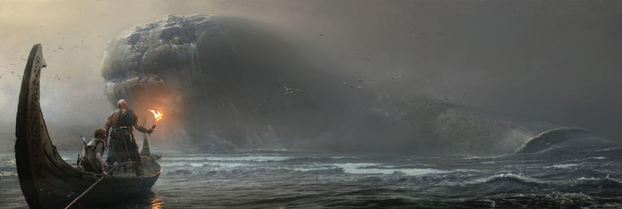 2018 egyik legjobb videojátéka, a God of War egyik legemlékezetesebb jelenete, amikor a főhős Kratos találkozik a skandináv mitológia Világkígyójával. Ezt a pillanatot örökítette meg Photoshoppal José Cabrera, a kép címe is Világkígyó.