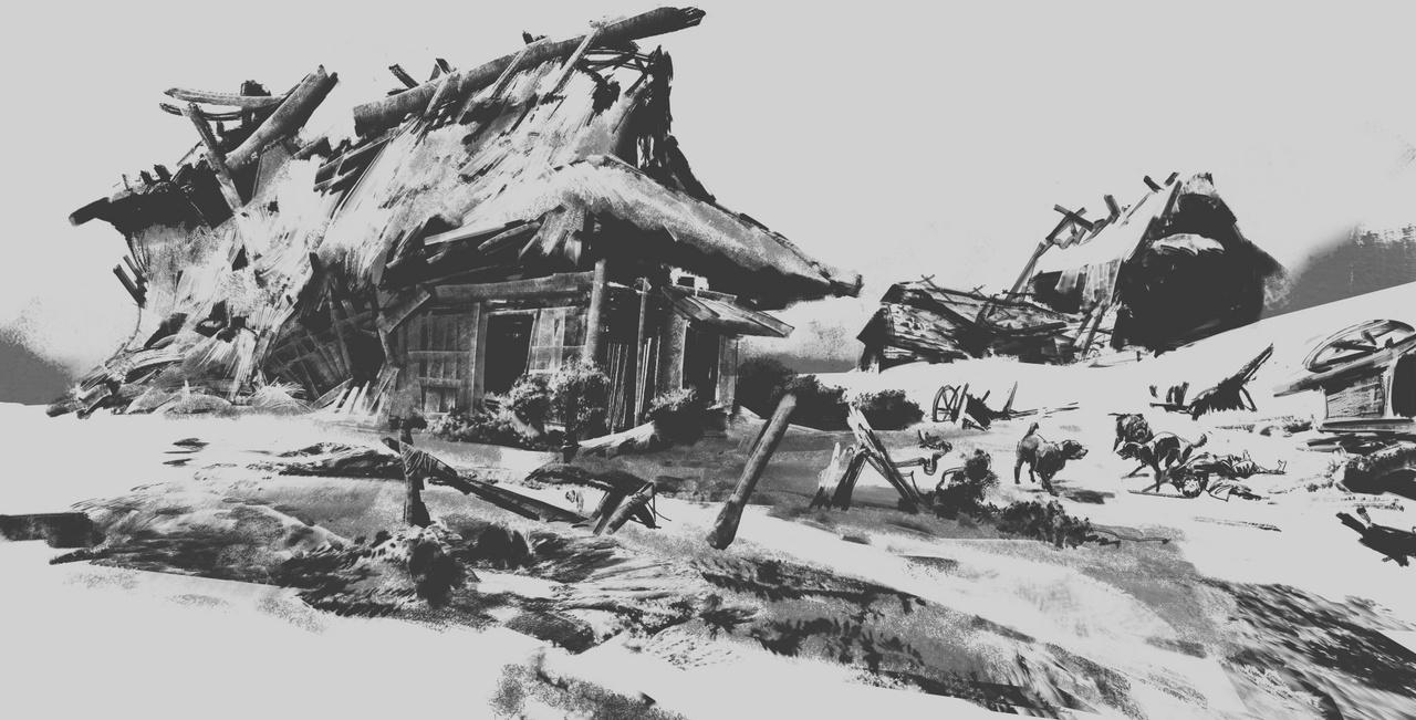 A középkori Japánban játszódó Ghost of Tsushima az egyik legjobban várt videojáték jelenleg. Színes stílusától elüt ez a fekete-fehér Photoshop-rajz, amit John Powell készített, de a zsűrinek így is megtetszett.