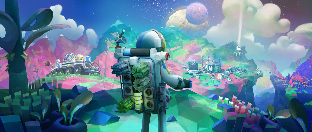 A kép címe: Terran Overlook. John Liberto Photoshoppal készült koncepciórajza az Astroneer című indie játékhoz. A játék központi eleme bolygók felfedezése és beépítése, a kép űrhajósa művében gyönyörködik.