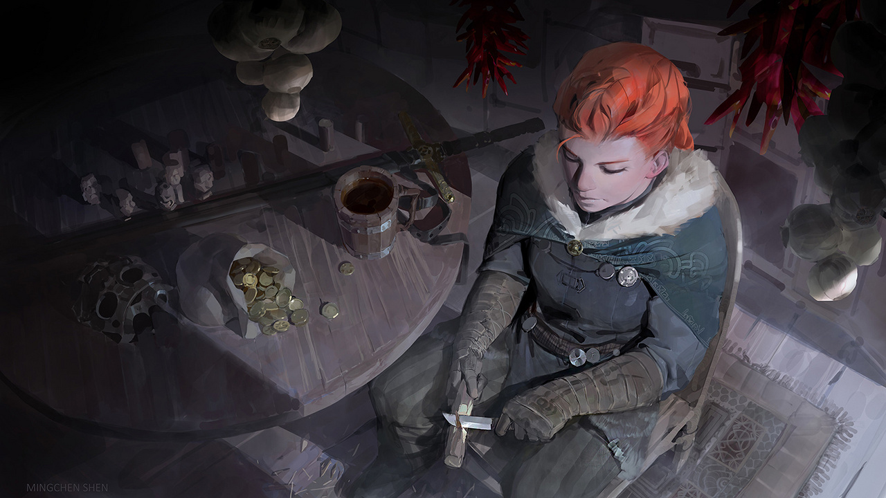 Jaelan, a várakozó harcos - a kép címe és főhőse egyben, alkotója Mingchen Shen, és ez is Photoshoppal készült, A Hearts of Valor című pc-s játékhoz.