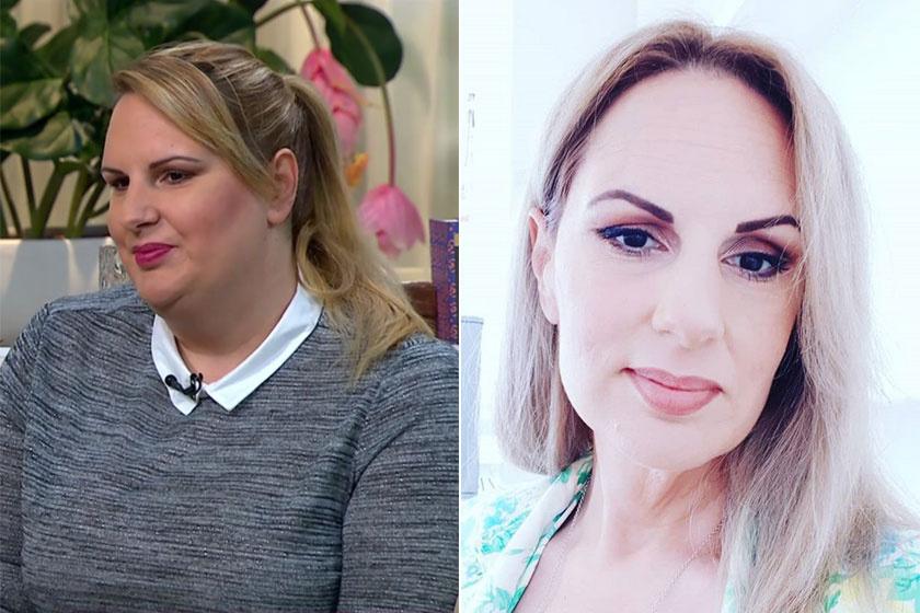 Kunovics Katinka 2018 januárjában, a FEM3 Café című műsorban és egyik friss szelfijén.