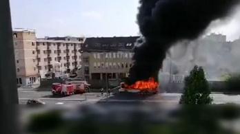 Teljesen kiégett egy helyközi busz Győrben