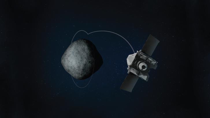 Számítógépes grafika az OSIRIS-REx űrszonda röppályájáról