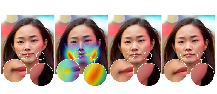 1. kép: manipulált fotó, 2. kép: érzékelt manipuláció, 3. kép: javasolt visszavonás, 4. kép: eredeti fotó
