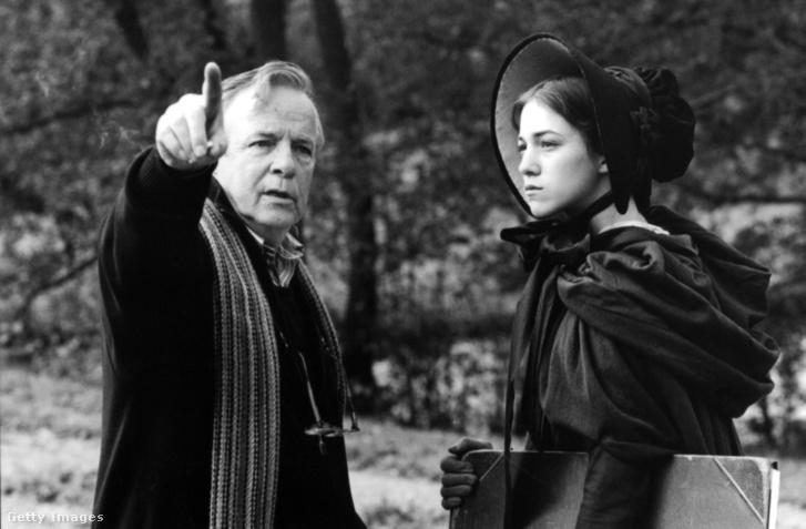 Zeffirelli és Charlotte Gainsbourg a Jane Eyre című film forgatásán, 1996 körül.