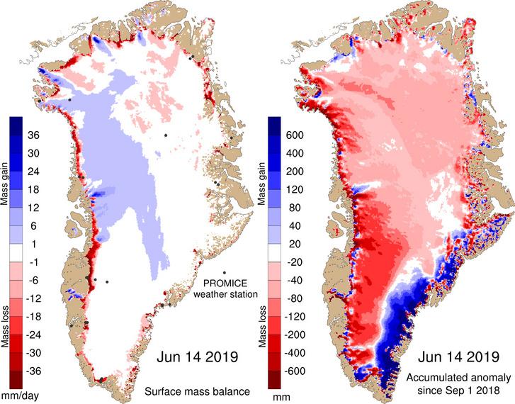 Balra: a grönlandi jég tömegének június 14-én bekövetkezett változása. Jobbra: a grönlandi jég tömegének 2018. szeptember 1-je óta bekövetkezett összesített változása.