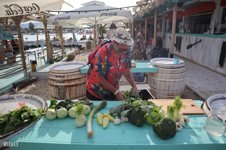 Hát azért a sok zöldség, mert Lakatos Márk és csapata főzött is a strandolóknak: zöld lecsó készült zöld zöldségekből, de kolbásszal.