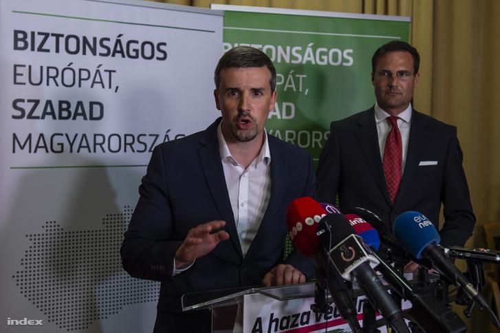 Jakab Péter (k) a Jobbik EP-választási eredményváróján