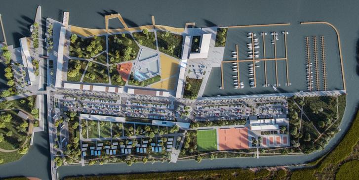 A fejlesztési terület alaprajza. A strand, a kikötő, a kemping és a sportpályák területe jól láthatóan elkülönül egymástól.