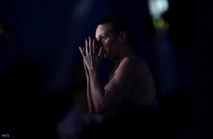 Hosszú Katinka a női 200 méteres vegyesúszás döntője után a budapesti Duna Arénában 2019. május 12-én