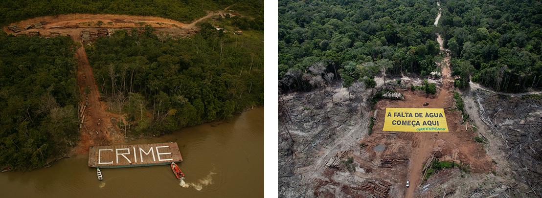 """Bal: A Greenpeace aktivistái által felfestett """"bűncselekmény"""" felirat egy illegális fakitermelő terület mellett használt uszályon Brazíliában - Jobb: A Greenpeace aktivistái által kifeszített """"A vízhiány itt kezdődik"""" feliratú molinó egy illegális fakitermelő területen Brazíliában."""