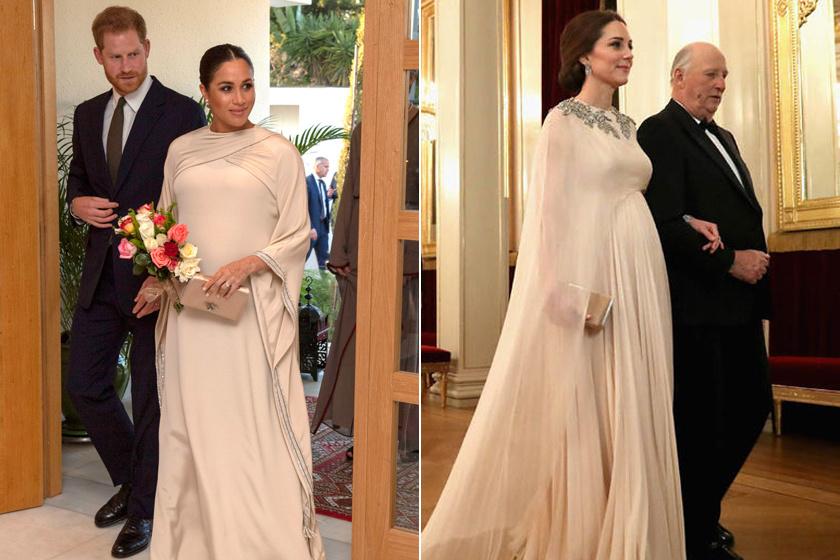 2019 februárjában az akkor még állapotos Meghan Markle marokkói útja során egy krémszínű Dior-kreációban pompázott, hasonlót lehetett látni Katalin hercegnén is egy évvel korábban, igaz, ő kedvenc tervezőjétől, Alexander McQueentől választotta a gyönyörű darabot.