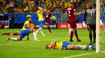 Három gólt lőttek a brazilok, egyet sem adtak meg