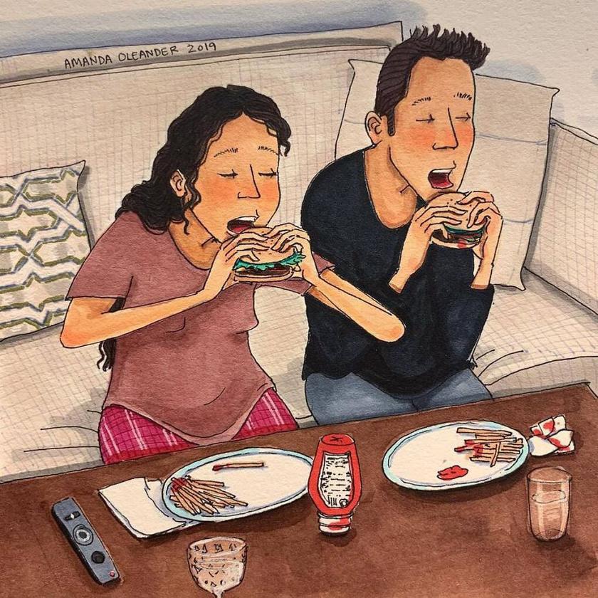 Az egyik legjobb program egy hosszú nap végén: ledobni a melltartót, otthoni ruhára váltani, és egy hamburger mellett nézni együtt a tévét.