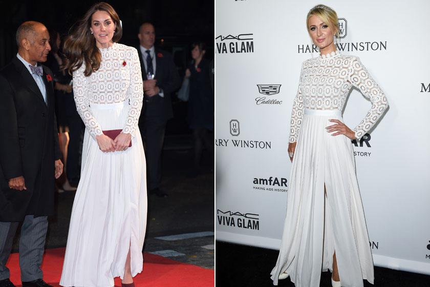 Katalin hercegné 2016 novemberében, míg Paris Hilton egy hónappal előtte viselte ezt az elegáns Self-Portrait-estélyit.