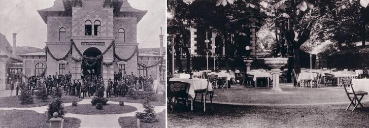 A lövőház eredetileg is a társasági élet helyszíne volt. Jobbra a kerthelyiség, amelyik ugyanott van, ahol ma is
