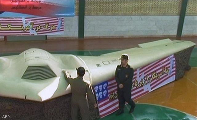 Az RQ-170 Sentinel drón az iráni állami televízió felvételén