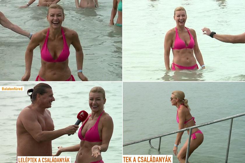Barta Sylvi időjós aerobik- és zumbaoktatóként is dolgozik, a sportos életmódnak köszönhetően 49 évesen is csodás a bikinis alakja.