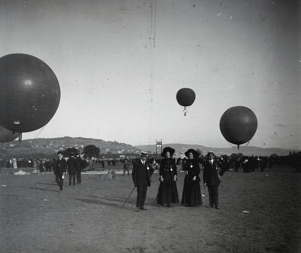 Gordon Bennett léggömbverseny a zürich-i Dübendorf repülőterén, 1910