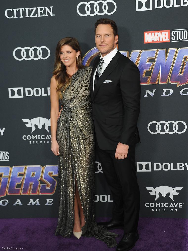 Katherine Scwarzenegger és Chris Pratt a Bosszúállók: Végjáték premiervetítésén.