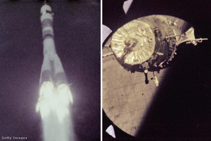 Bal oldalon: a Szojuz–4–5 kilövése Vosztok rakétával 1969-ben; Jobb oldalon: a Szojuz–4–5 a lecsatlakozás után 1969 júliusában