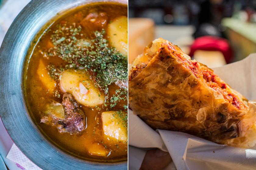 Tradicionális szarajevói ételek: a burek - jobbra - igazi kemencében sül.