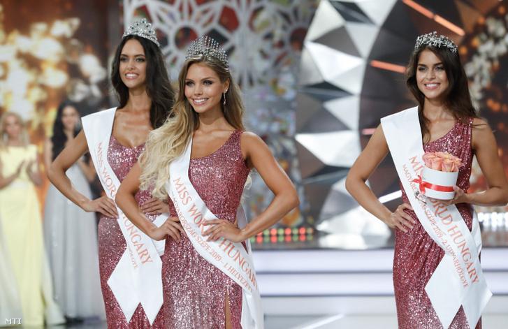 A győztes Nagypál Krisztina (k), valamint Gaál Tímea első udvarhölgy (b) és Csonka Rebeka második udvarhölgy (j) a Magyarország Szépe – Miss World Hungary döntőjén a Médiaszolgáltatás-támogató és Vagyonkezelő Alap (MTVA) óbudai gyártóbázisán 2019. június 23-án.