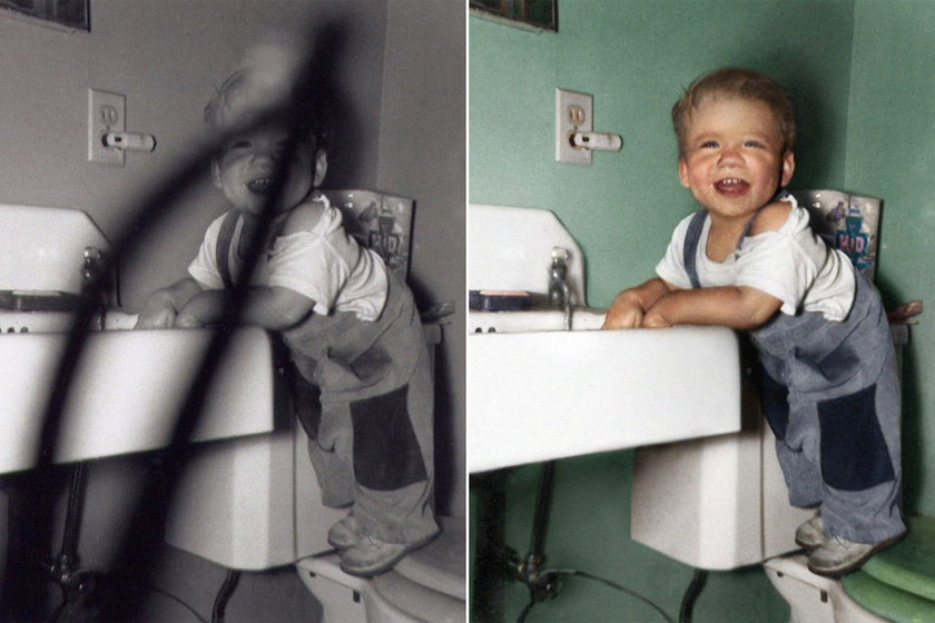 Felismerhetetlenségig tönkrement a családi fotó: döbbenetes, ahogyan kijavították