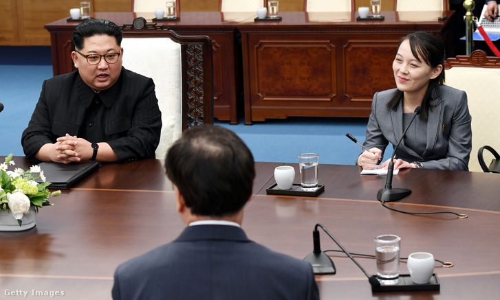 Kim Dzsongun észak-koreai vezető és húga, Kim Jodzsong