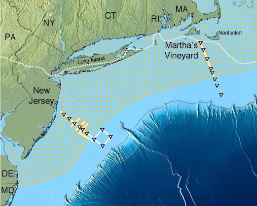 Az édesvíztározó (sárga pontokkal jelölt terület) feltételezett kiterjedése az Atlanti óceánban
