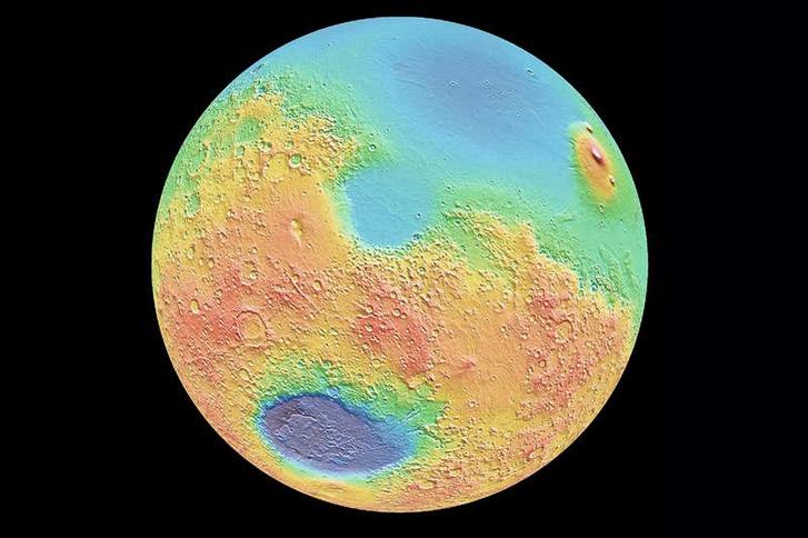 A Mars déli fennföldje (narancssárga)