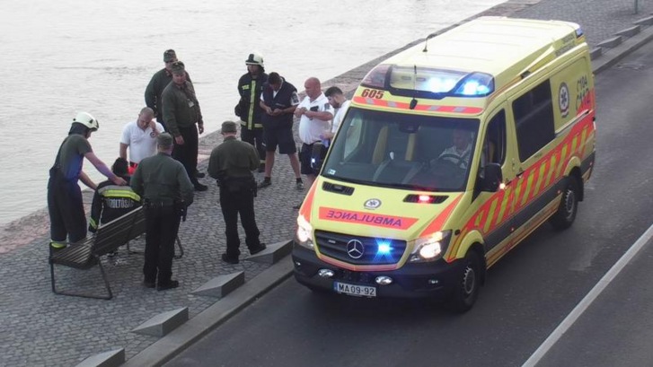 Az Országgyűlési Őrség tagjai a tűzoltók segítségével emelték partra a férfit