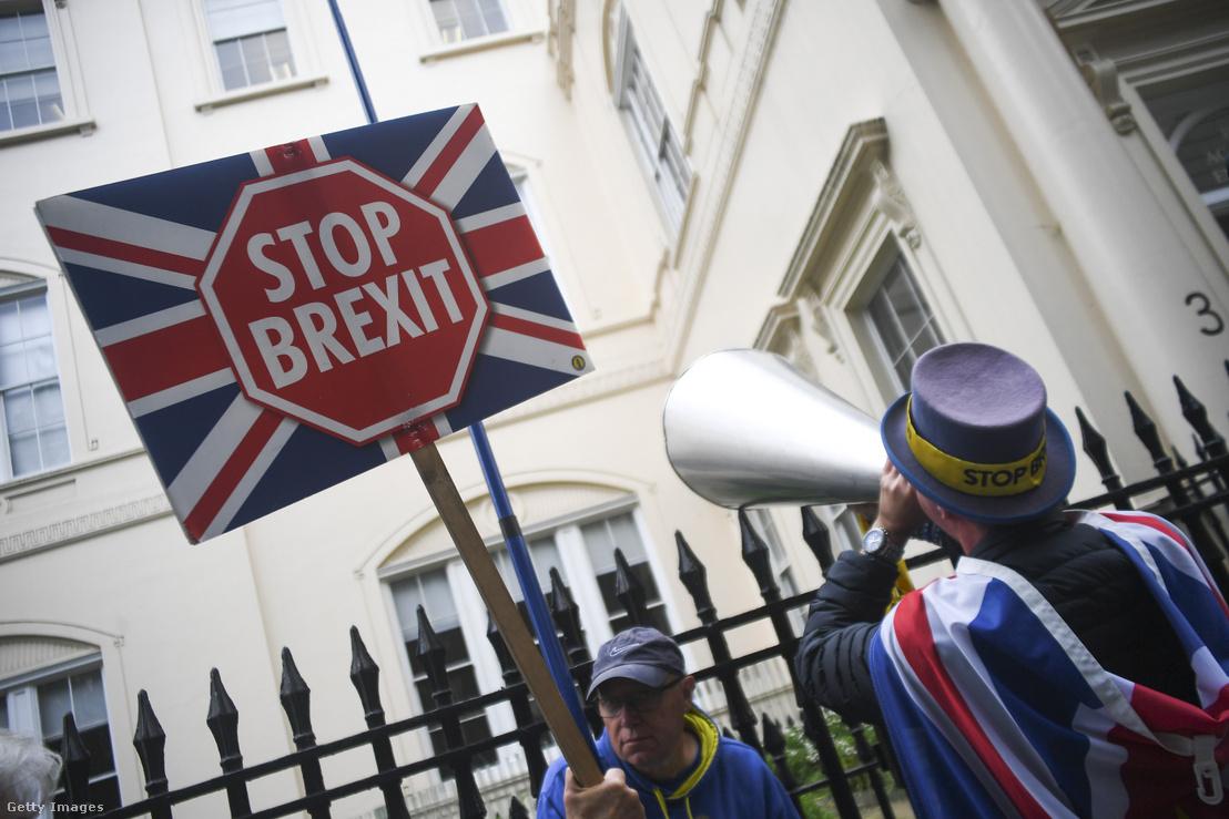 Brexit ellenes tüntetők Londonban 2019. június 12-én.